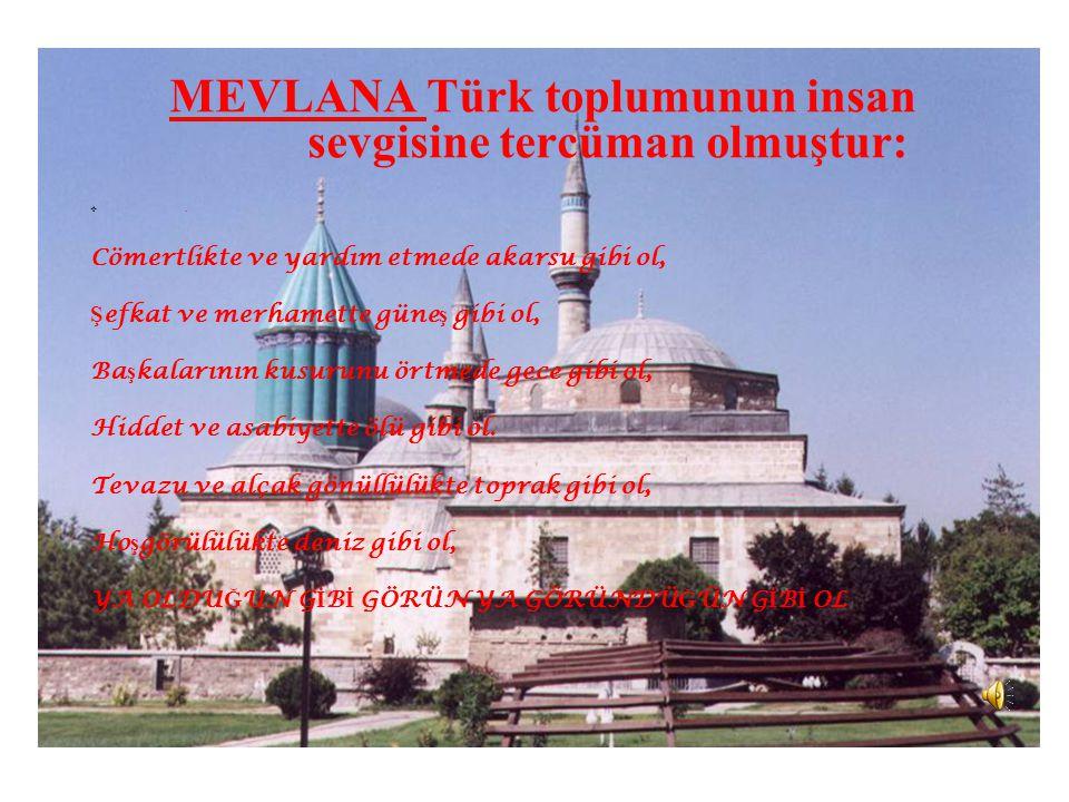 MEVLANA Türk toplumunun insan sevgisine tercüman olmuştur: