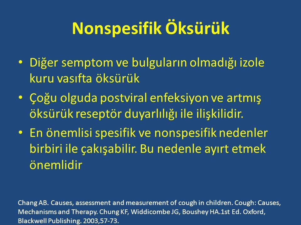 Nonspesifik Öksürük Diğer semptom ve bulguların olmadığı izole kuru vasıfta öksürük.