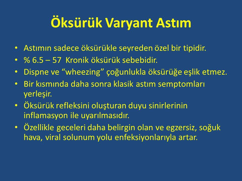 Öksürük Varyant Astım Astımın sadece öksürükle seyreden özel bir tipidir. % 6.5 – 57 Kronik öksürük sebebidir.