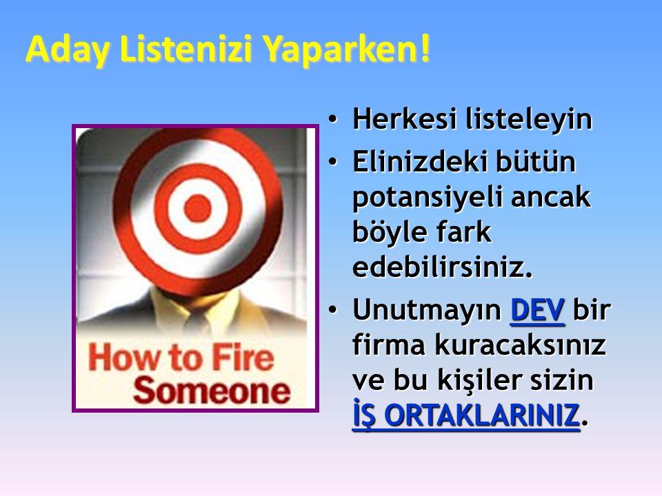 Aday Listenizi Yaparken!