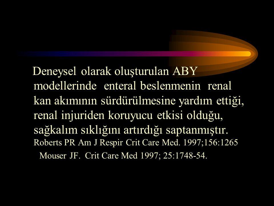 Deneysel olarak oluşturulan ABY modellerinde enteral beslenmenin renal kan akımının sürdürülmesine yardım ettiği, renal injuriden koruyucu etkisi olduğu, sağkalım sıklığını artırdığı saptanmıştır. Roberts PR Am J Respir Crit Care Med. 1997;156:1265