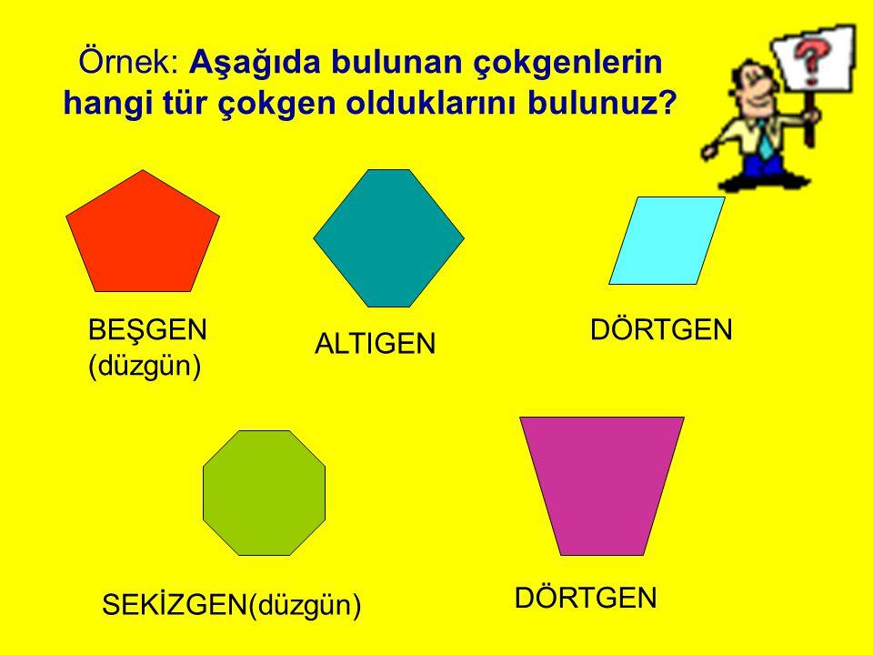 Örnek: Aşağıda bulunan çokgenlerin hangi tür çokgen olduklarını bulunuz