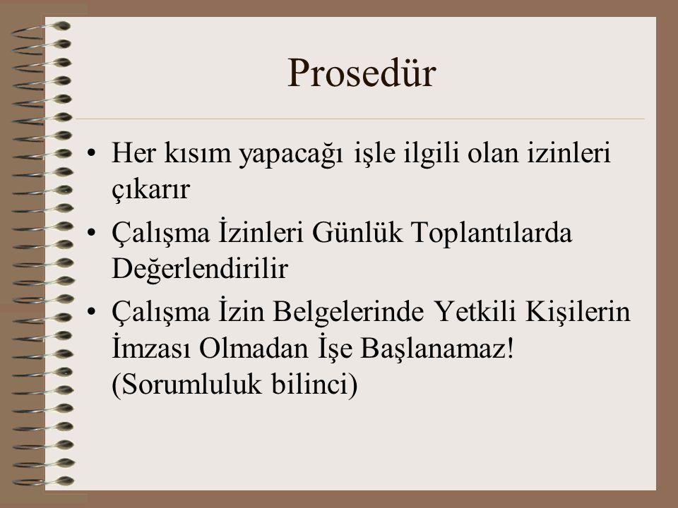 Prosedür Her kısım yapacağı işle ilgili olan izinleri çıkarır