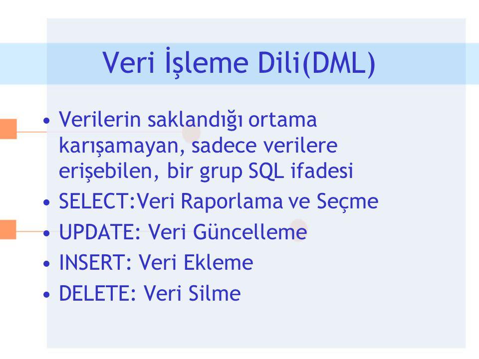 Veri İşleme Dili(DML) Verilerin saklandığı ortama karışamayan, sadece verilere erişebilen, bir grup SQL ifadesi.