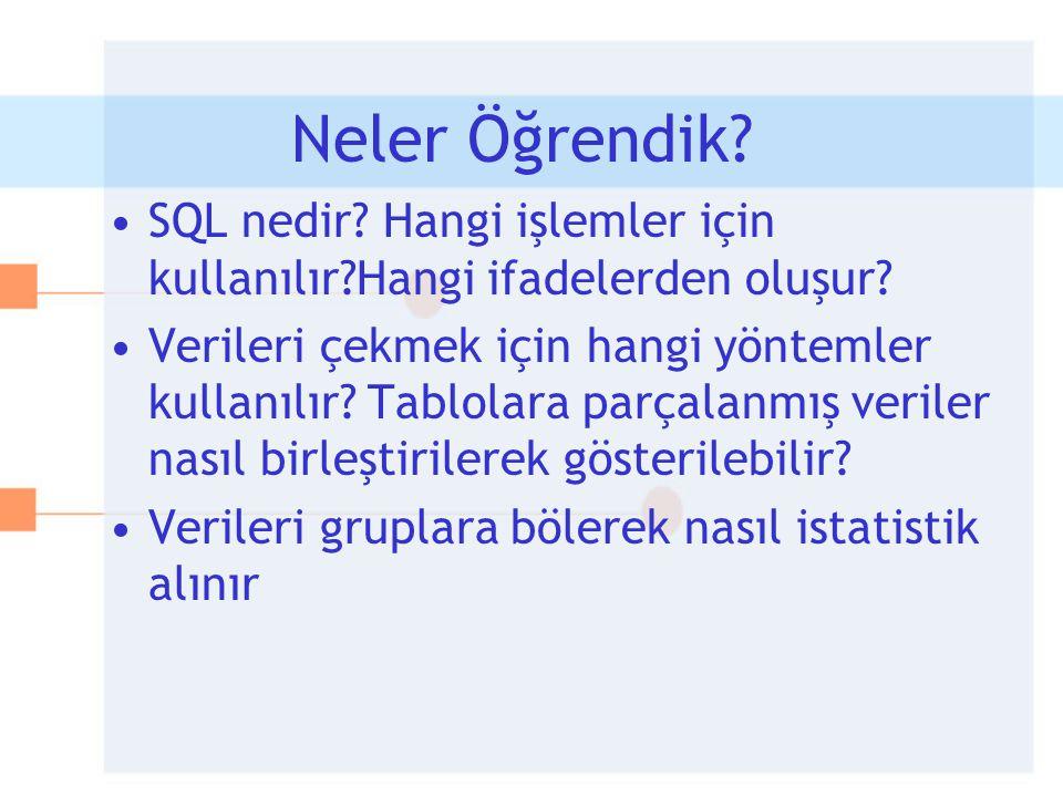 Neler Öğrendik SQL nedir Hangi işlemler için kullanılır Hangi ifadelerden oluşur