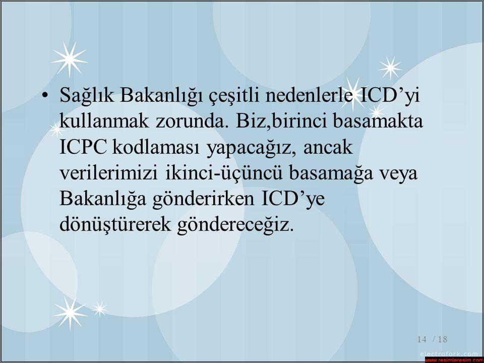 Sağlık Bakanlığı çeşitli nedenlerle ICD'yi kullanmak zorunda