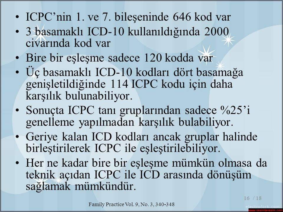 ICPC'nin 1. ve 7. bileşeninde 646 kod var