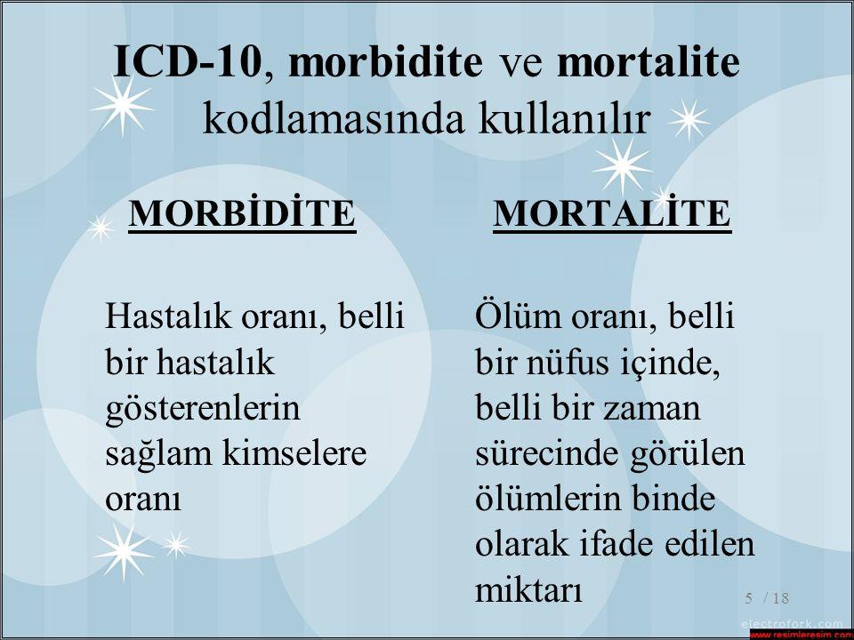ICD-10, morbidite ve mortalite kodlamasında kullanılır