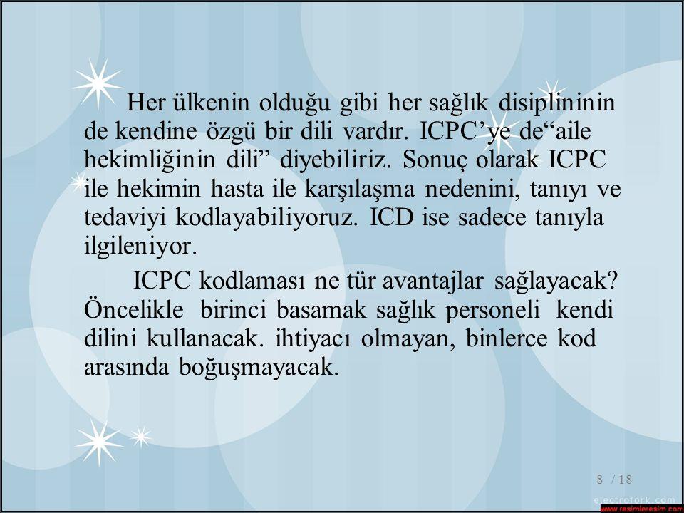 Her ülkenin olduğu gibi her sağlık disiplininin de kendine özgü bir dili vardır. ICPC'ye de aile hekimliğinin dili diyebiliriz. Sonuç olarak ICPC ile hekimin hasta ile karşılaşma nedenini, tanıyı ve tedaviyi kodlayabiliyoruz. ICD ise sadece tanıyla ilgileniyor.