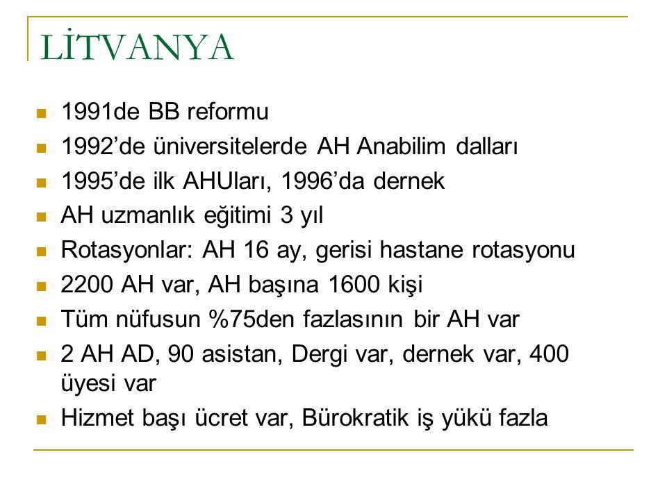 LİTVANYA 1991de BB reformu 1992'de üniversitelerde AH Anabilim dalları