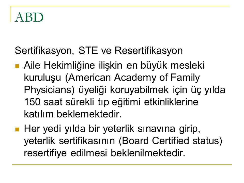 ABD Sertifikasyon, STE ve Resertifikasyon