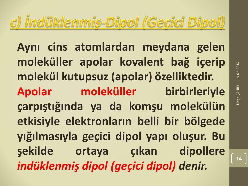 c) İndüklenmiş-Dipol (Geçici Dipol)