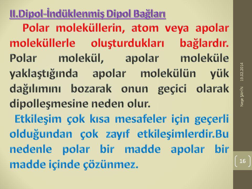 II.Dipol-İndüklenmiş Dipol Bağları