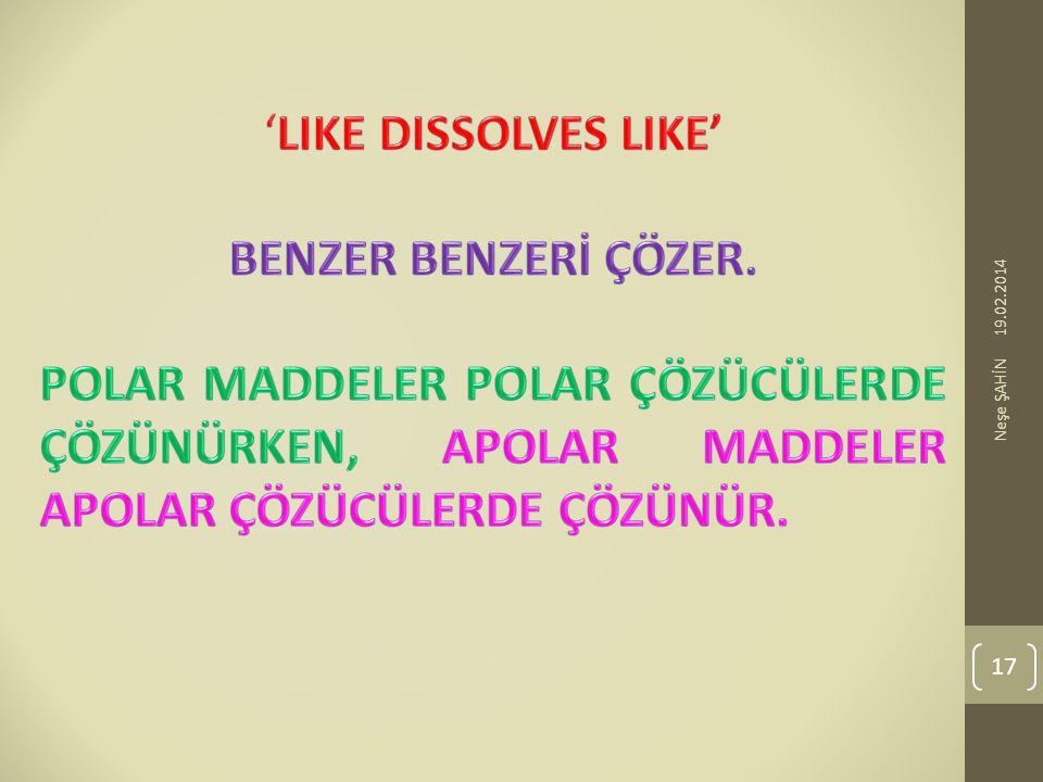 'LIKE DISSOLVES LIKE' BENZER BENZERİ ÇÖZER.