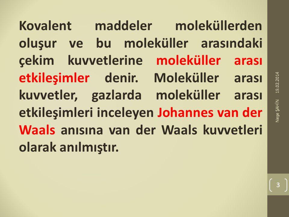 Kovalent maddeler moleküllerden oluşur ve bu moleküller arasındaki çekim kuvvetlerine moleküller arası etkileşimler denir. Moleküller arası kuvvetler, gazlarda moleküller arası etkileşimleri inceleyen Johannes van der Waals anısına van der Waals kuvvetleri olarak anılmıştır.
