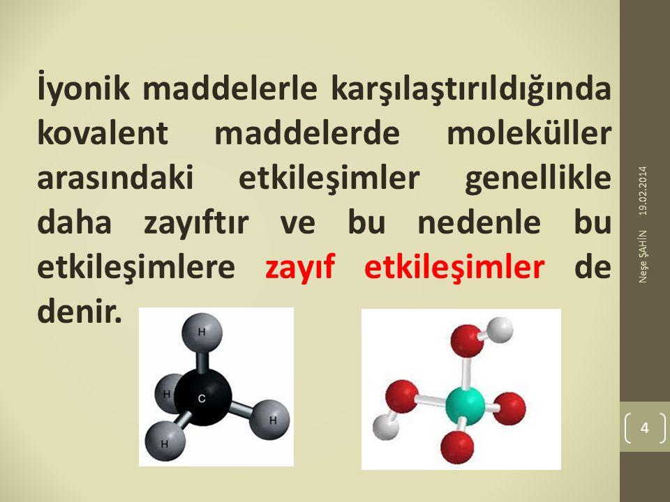 İyonik maddelerle karşılaştırıldığında kovalent maddelerde moleküller arasındaki etkileşimler genellikle daha zayıftır ve bu nedenle bu etkileşimlere zayıf etkileşimler de denir.