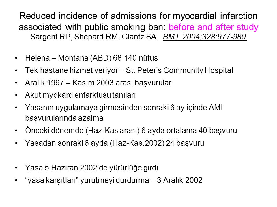 Reduced incidence of admissions for myocardial infarction associated with public smoking ban: before and after study Sargent RP, Shepard RM, Glantz SA. BMJ 2004;328:977-980