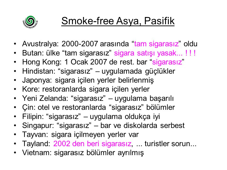 Smoke-free Asya, Pasifik