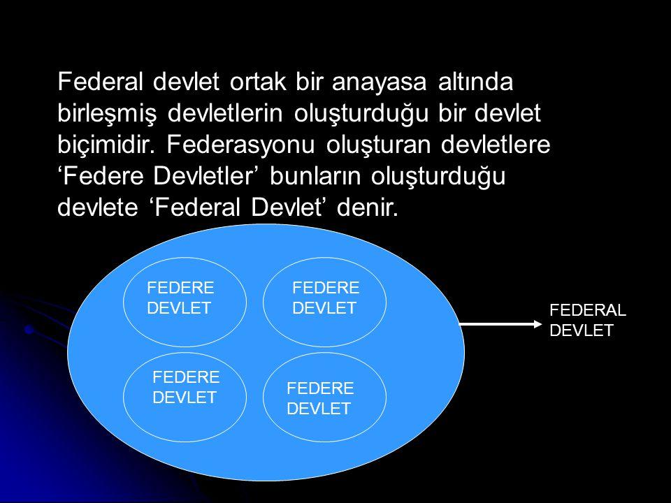 Federal devlet ortak bir anayasa altında birleşmiş devletlerin oluşturduğu bir devlet biçimidir. Federasyonu oluşturan devletlere 'Federe Devletler' bunların oluşturduğu devlete 'Federal Devlet' denir.