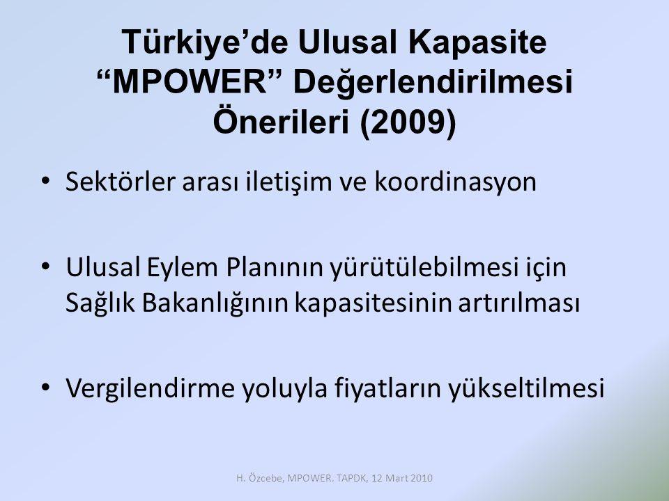 Türkiye'de Ulusal Kapasite MPOWER Değerlendirilmesi Önerileri (2009)