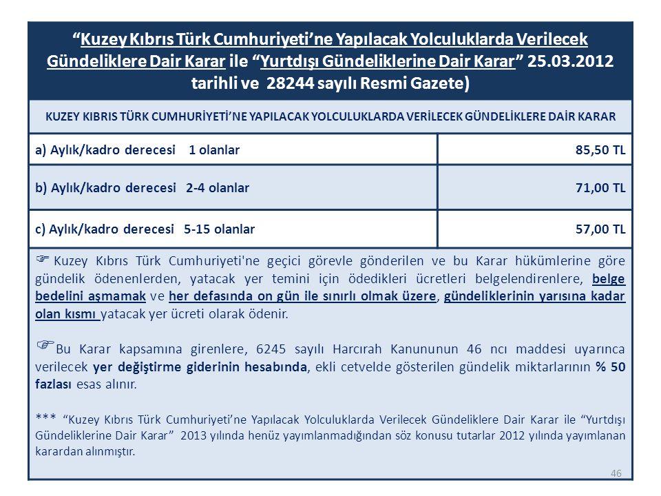 Kuzey Kıbrıs Türk Cumhuriyeti'ne Yapılacak Yolculuklarda Verilecek Gündeliklere Dair Karar ile Yurtdışı Gündeliklerine Dair Karar 25.03.2012 tarihli ve 28244 sayılı Resmi Gazete)