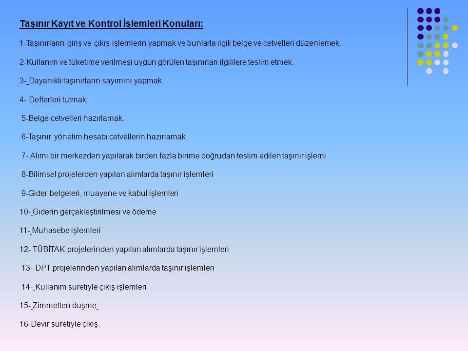 Taşınır Kayıt ve Kontrol İşlemleri Konuları: