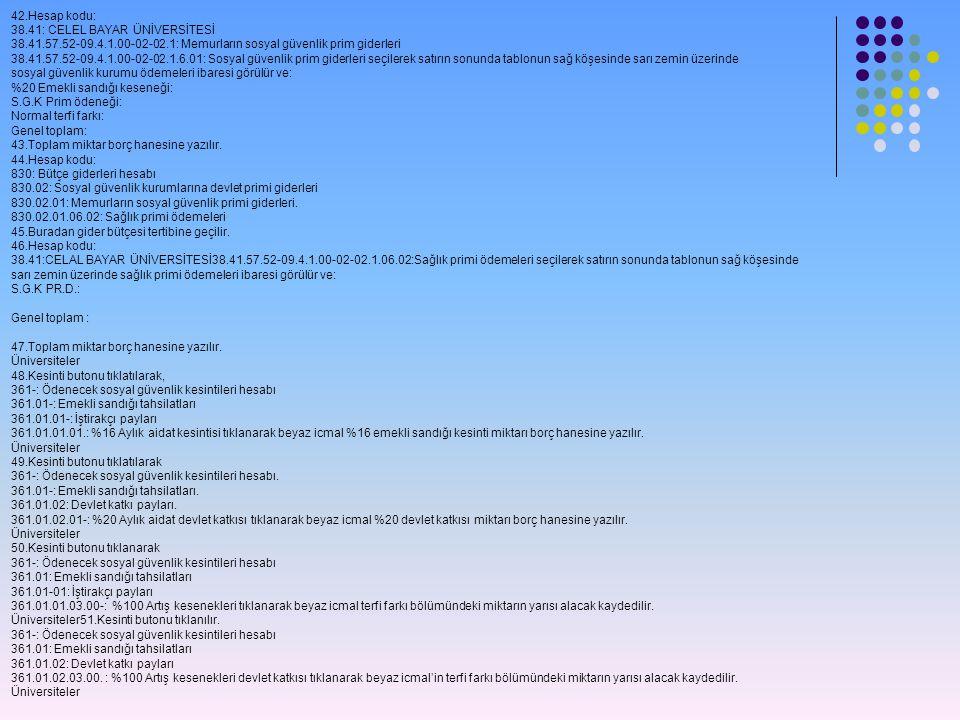 42.Hesap kodu: 38.41: CELEL BAYAR ÜNİVERSİTESİ. 38.41.57.52-09.4.1.00-02-02.1: Memurların sosyal güvenlik prim giderleri.