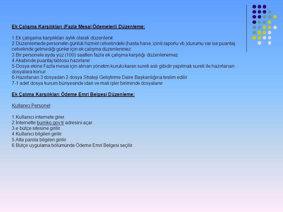 Ek Çalışma Karşılıkları (Fazla Mesai Ödemeleri) Düzenleme: