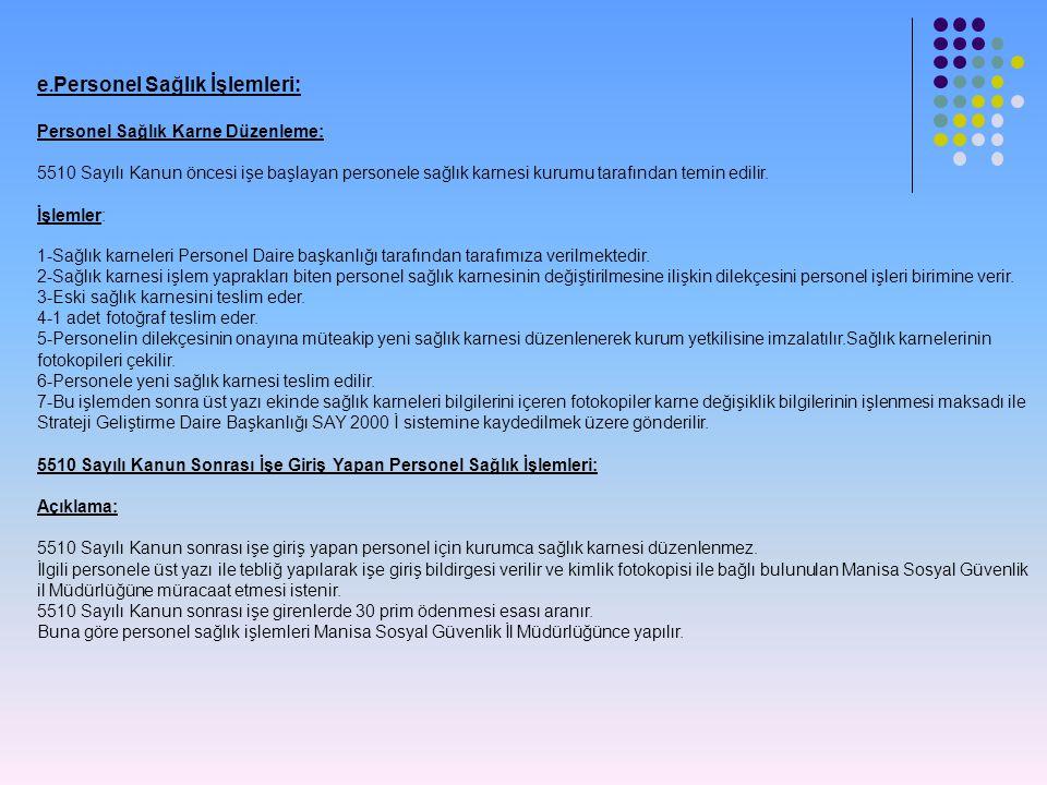 e.Personel Sağlık İşlemleri: