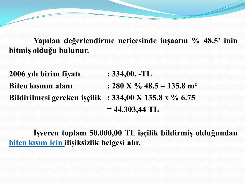 Biten kısmın alanı : 280 X % 48.5 = 135.8 m²