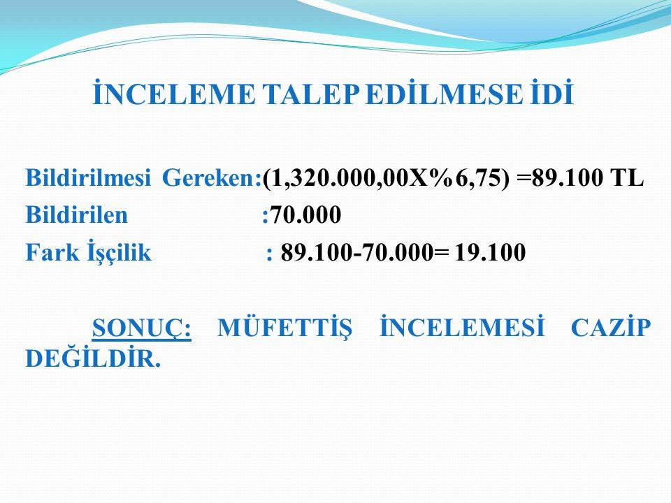 Bildirilmesi Gereken:(1,320.000,00X%6,75) =89.100 TL