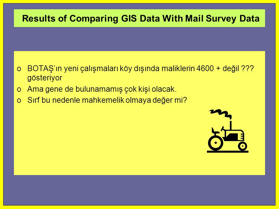 Results of Comparing GIS Data With Mail Survey Data