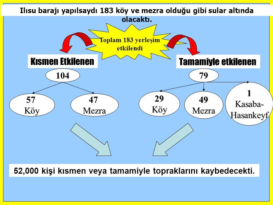 Kısmen Etkilenen Tamamiyle etkilenen 104 79 1 Kasaba- Hasankeyf 29 Köy