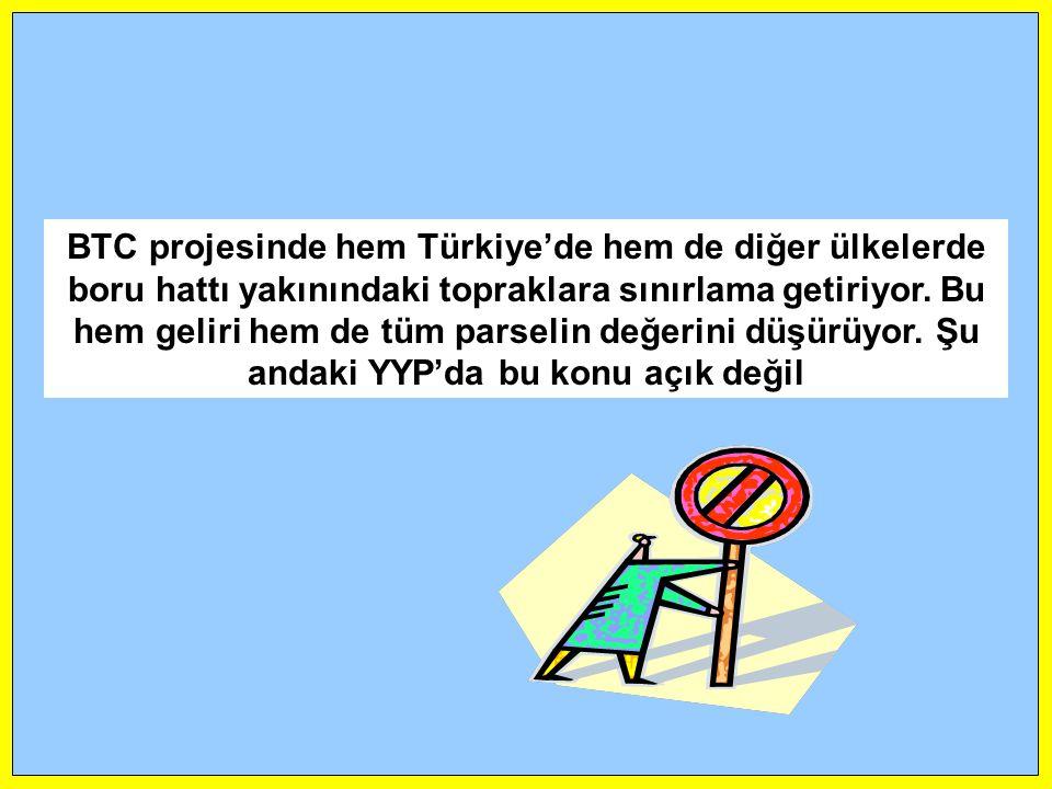 BTC projesinde hem Türkiye'de hem de diğer ülkelerde boru hattı yakınındaki topraklara sınırlama getiriyor.