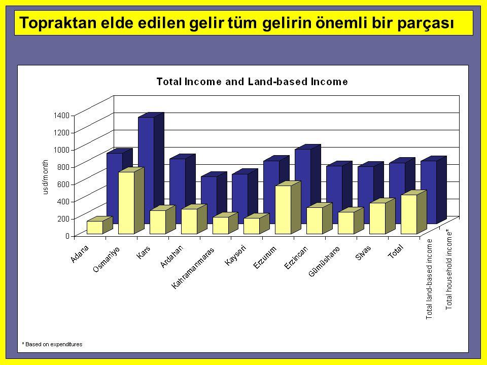 Topraktan elde edilen gelir tüm gelirin önemli bir parçası