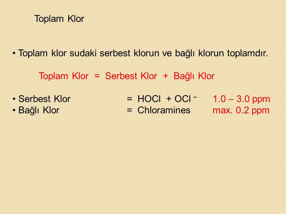 Toplam Klor Toplam klor sudaki serbest klorun ve bağlı klorun toplamdır. Toplam Klor = Serbest Klor + Bağlı Klor.