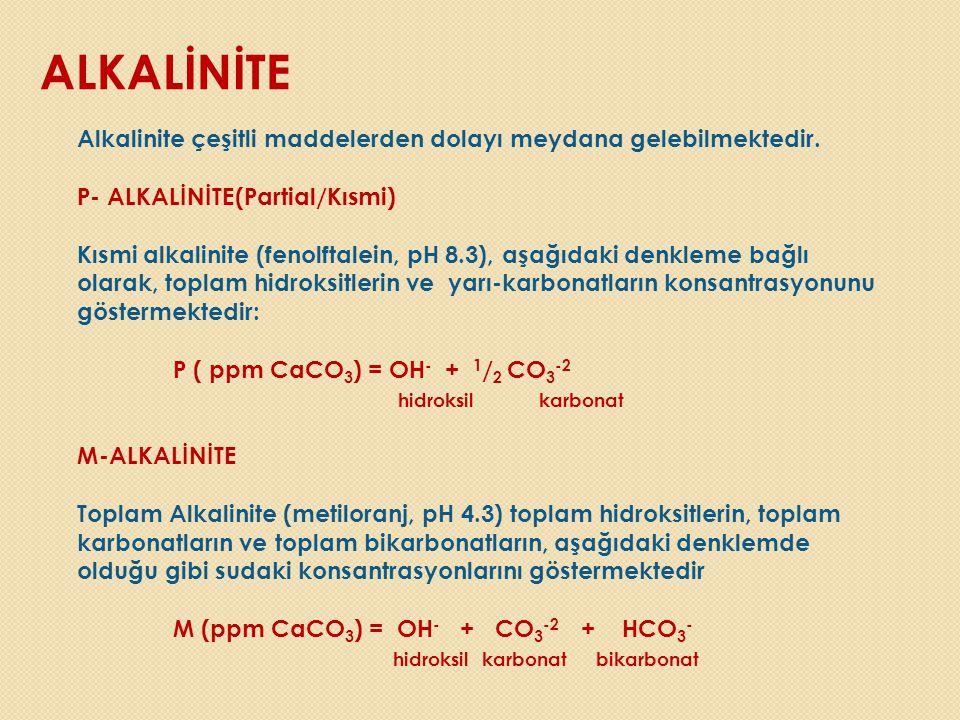 ALKALİNİTE Alkalinite çeşitli maddelerden dolayı meydana gelebilmektedir. P- ALKALİNİTE(Partial/Kısmi)