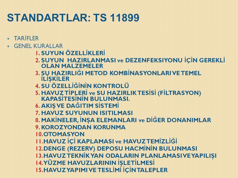 STANDARTLAR: TS 11899 TARİFLER GENEL KURALLAR SUYUN ÖZELLİKLERİ