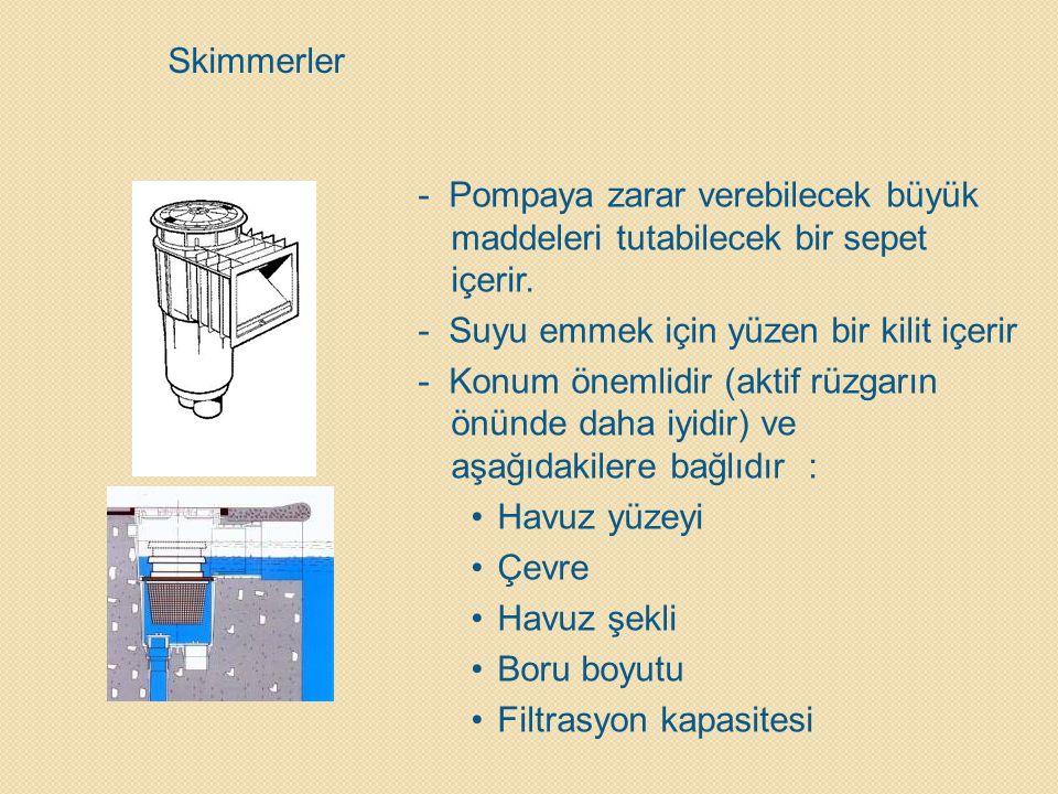 Skimmerler - Pompaya zarar verebilecek büyük maddeleri tutabilecek bir sepet içerir. - Suyu emmek için yüzen bir kilit içerir.