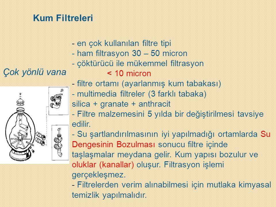 Kum Filtreleri Çok yönlü vana en çok kullanılan filtre tipi