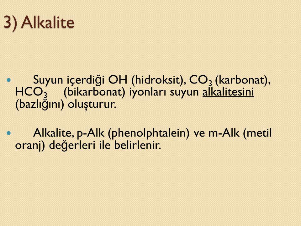3) Alkalite Suyun içerdiği OH (hidroksit), CO3 (karbonat), HCO3 (bikarbonat) iyonları suyun alkalitesini (bazlığını) oluşturur.
