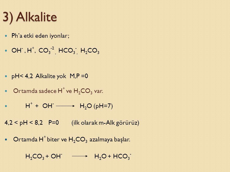 3) Alkalite Ph'a etki eden iyonlar; OH- , H+, CO3-2 , HCO3-, H2CO3
