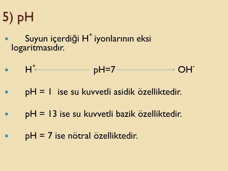 5) pH Suyun içerdiği H+ iyonlarının eksi logaritmasıdır. H+ pH=7 OH-