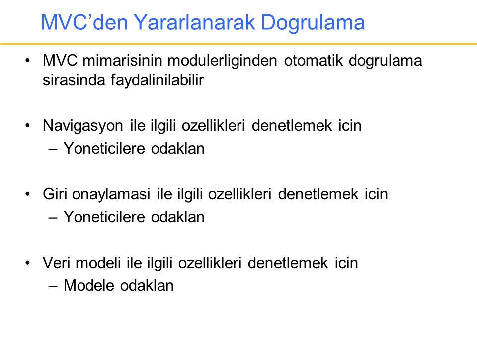 MVC'den Yararlanarak Dogrulama