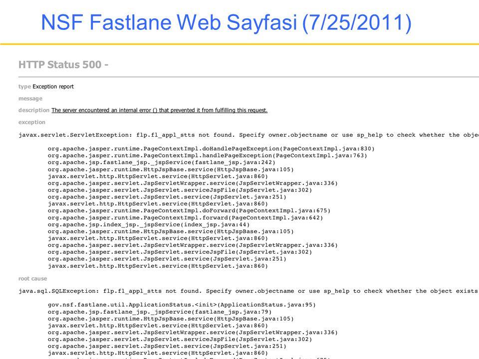 NSF Fastlane Web Sayfasi (7/25/2011)