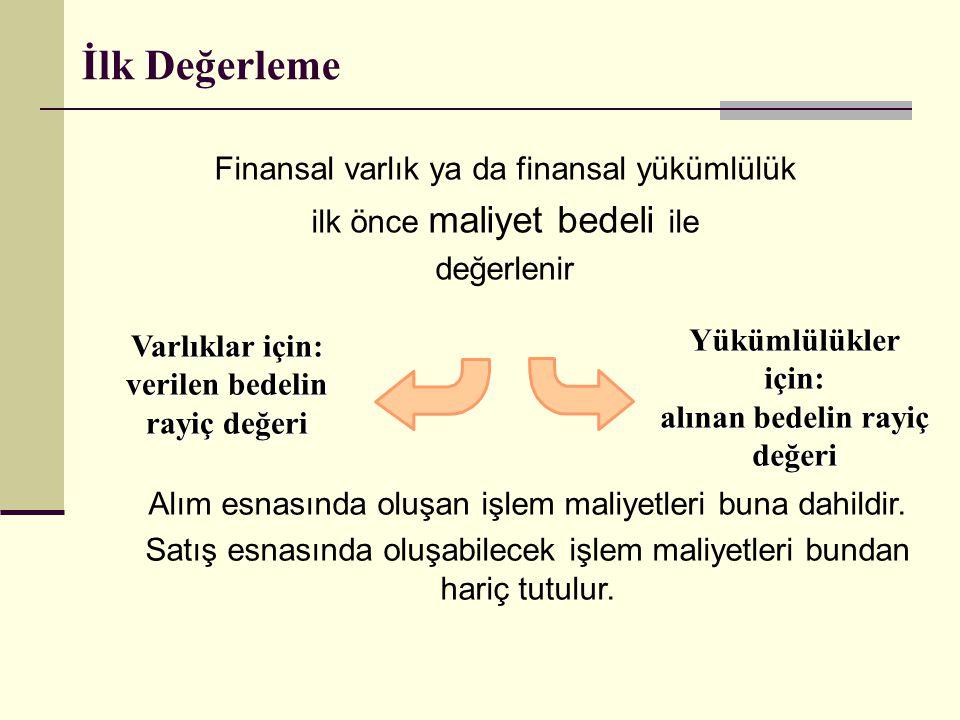 İlk Değerleme Finansal varlık ya da finansal yükümlülük