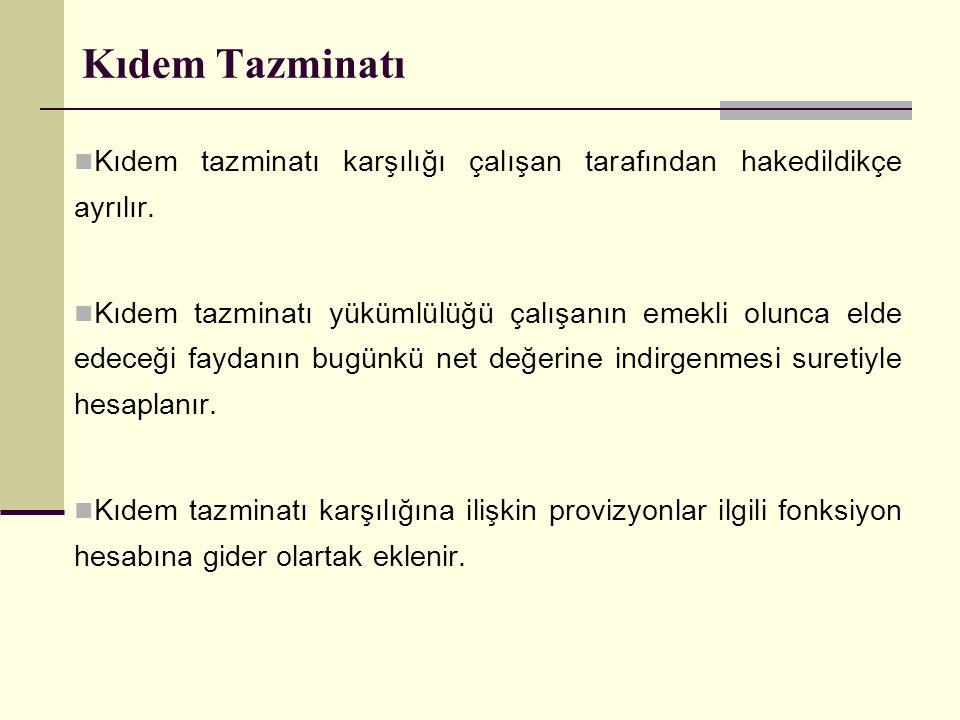 Kıdem Tazminatı Kıdem tazminatı karşılığı çalışan tarafından hakedildikçe ayrılır.