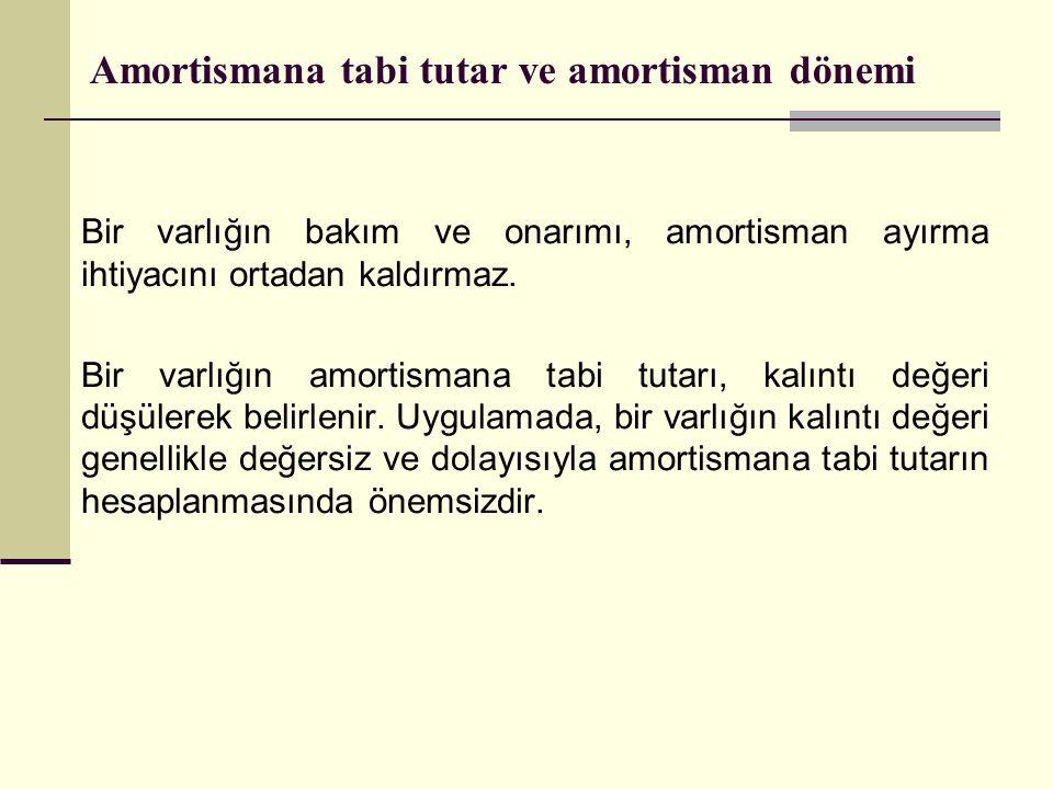 Amortismana tabi tutar ve amortisman dönemi