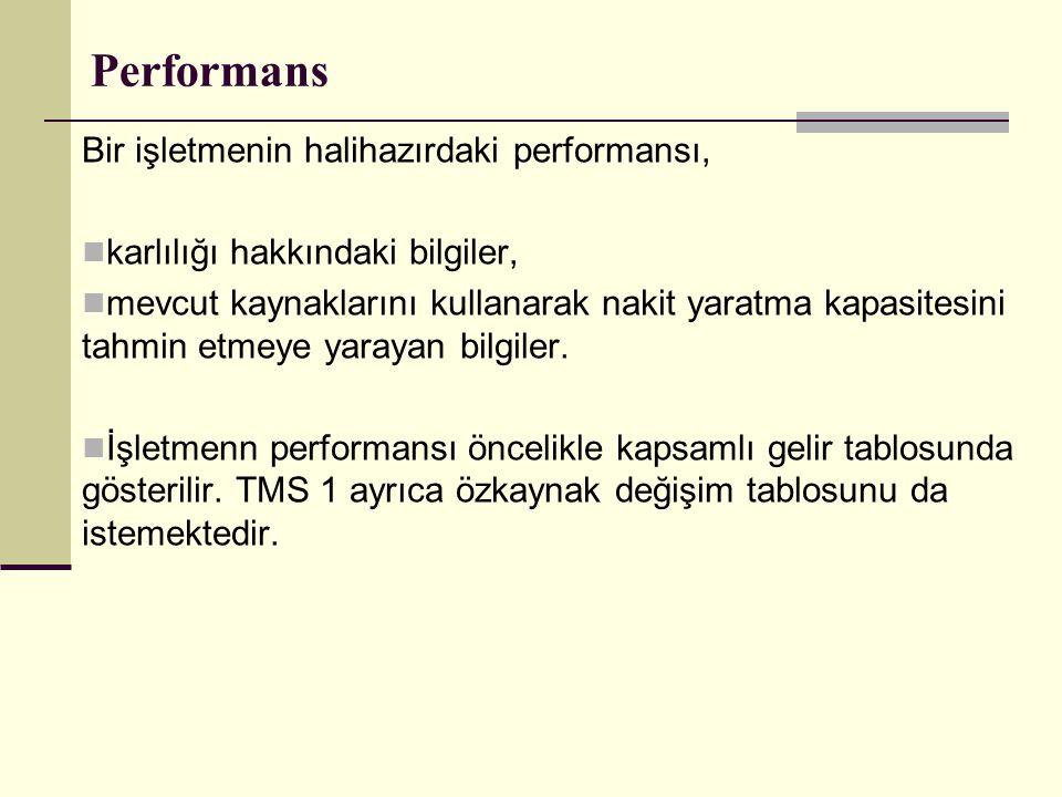Performans Bir işletmenin halihazırdaki performansı,