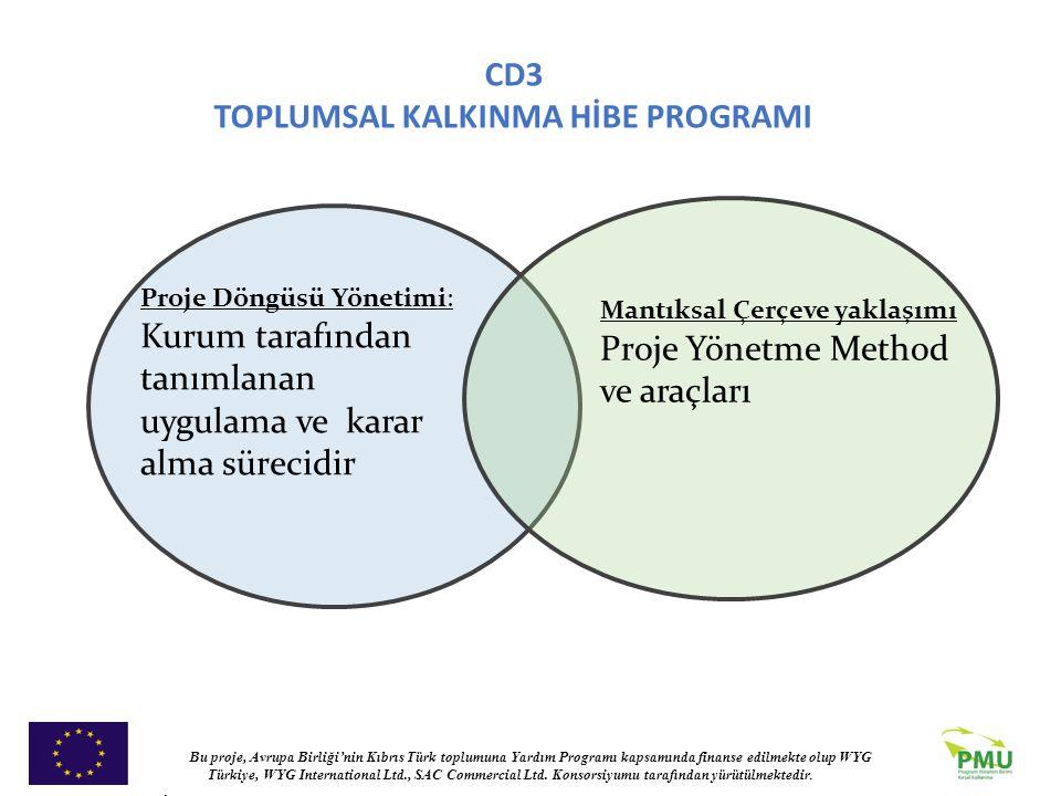 Proje Döngüsü Yönetimi: Kurum tarafından tanımlanan uygulama ve karar alma sürecidir